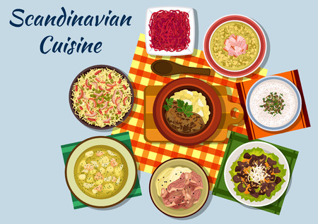 potato salad: Scandinavian cuisine icon with norwegian beef stew, mushroom cream soup, pike roe sandwich and boiled lamb, dutch pasta and red cabbage salads, swedish salmon cream soup, liver salad and pork pea soup