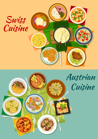 meat soup: Swiss and austrian cuisine icon with cheese fondue, various meat and potato dishes with pickles, cheese and vegetables, sausages with sauerkraut, ravioli, dumplings, minestrone soup, saffron risotto Illustration