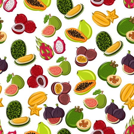 guava fruit: Fresh and sweet tropical fruits seamless background with pattern of exotic durian, star fruit, papaya, dragon fruit, fig, feijoa, guava, passion fruit and lychee fruits