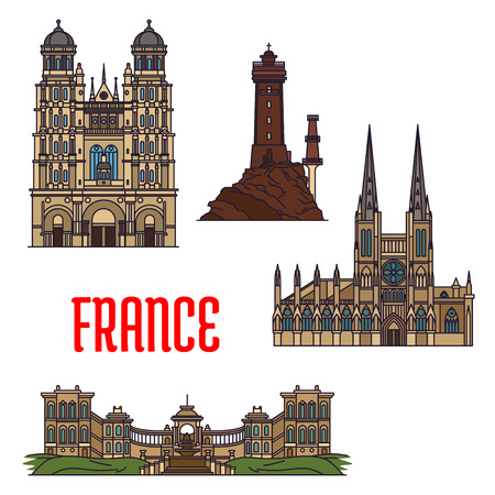 roman catholic: French travel landmarks icon with thin line roman catholic Cathedral of Saint Andrew and Church of Saint Michel, iconic La Vieille lighthouse and Palais Longchamp. Travel and vacation planning design