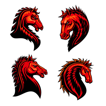 fire symbol: Fire horse mascots with head of wild mustang stallion, bronco or purebred racehorse, decorated by tribal ornament in shape of fire flames. Horse racing symbol, sporting club or team badge design Illustration