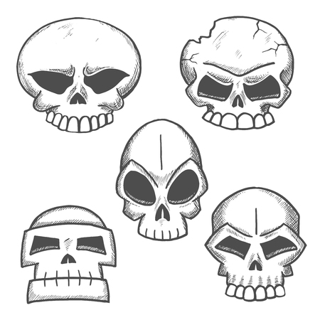 eye sockets: Sketched skulls with eerie old cranium of human or monster with cracked bone, destroyed jaw and angry glances of empty eye sockets. Halloween, mascot or tattoo design Illustration