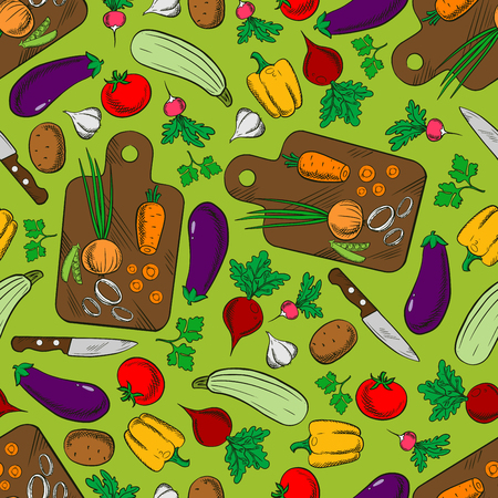 Fresh vegetable salad ingredients background with seamless pattern of tomato, pepper, carrot, eggplant, potato, zucchini, beet, garlic, radish, onion and parsley with knife and cutting board Illustration