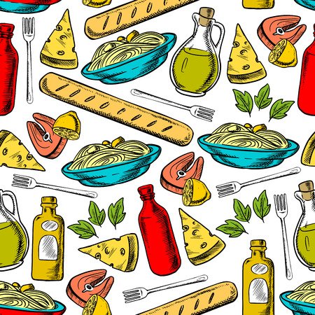breadstick: Italian cuisine seamless pattern of pasta, cheese, olive oil, breadstick, salmon steak and red wine bottles on white background with basil leaves and lemon fruits