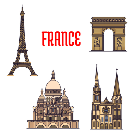 roman catholic: Travel landmarks of France thin line icon with iconic monuments of Eiffel Tower and Triumphal Arch of the Star, roman catholic Basilica of the Sacred Heart and gothic Chartres Cathedral