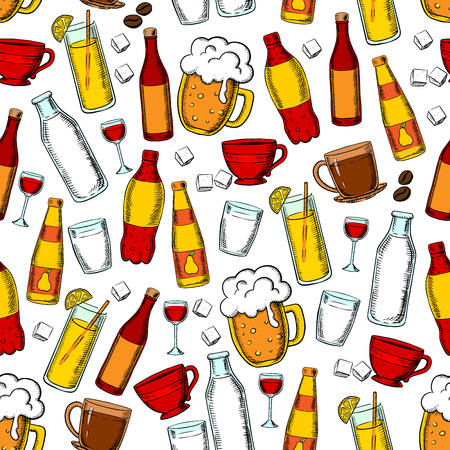 carbonated: Seamless drinks and beverages pattern with beer, red wine, fruit juice, lemonade, carbonated soft drinks and milk, cups of coffee and tea with sugar cubes and coffee beans