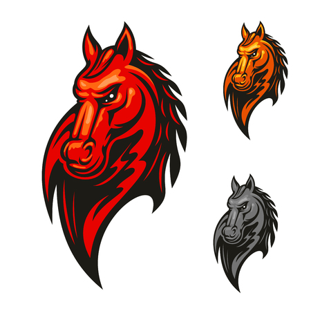 Red flaming horse head mascot with mad and powerful stallion horse. Sporting competition badge or sport club symbol design Illustration