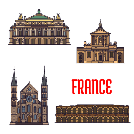 abbey: French travel sights of culture and architecture icon with linear roman amphitheatre Arena of Nimes, opera house Palais Garnier, Chapel of Sainte Ursule of Sorbonne University, Abbey of Saint-Remi Illustration