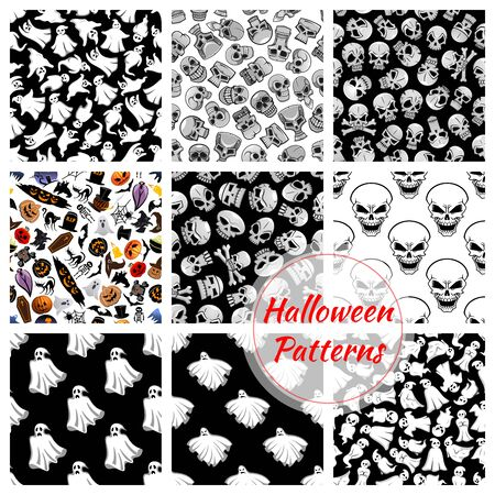 flying coffin: Halloween seamless decoration patterns set. Vector pattern of flying bed sheet ghosts, skulls with crossbones. Halloween celebration cartoon symbols of coffin, pumpkin with candle, witch and black cats