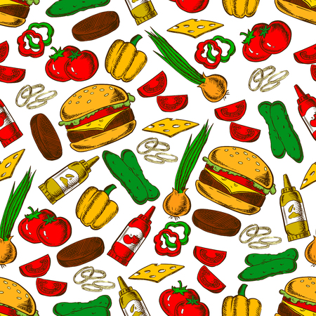 patty: Fast food cheeseburger with ingredients seamless pattern of burger, cheese, beef patty, fresh tomato, pepper, onion and cucumber vegetables, ketchup and mustard sauces