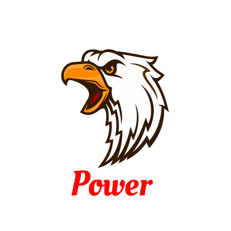 Screaming eagle symbol with head of aggressive bird in attacking posture. Use as sporting mascot or tattoo design