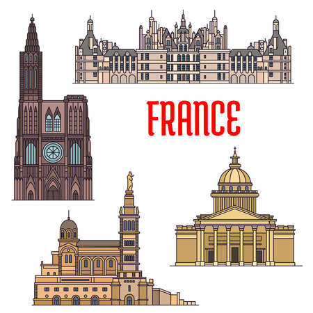 normandy: Travel sights of France thin line icon with catholic basilica Notre-Dame de la Garde, gothic Rouen Cathedral, St. Peters Basilica and royal residence Chateau de Chambord