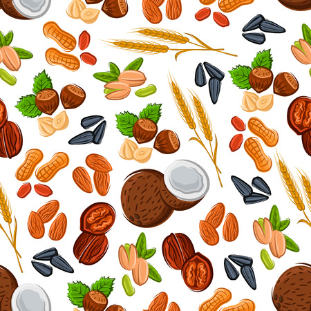 Seamless nuts and cereal pattern on white background with almond, peanut, hazelnut, walnut, pistachio and coconut, sunflower seed and ripe wheat