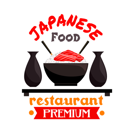 sake: Japanese cuisine restaurant badge with bowl of sticky rice, served with salmon sashimi, sake and chopsticks. Oriental cuisine theme or restaurant menu design