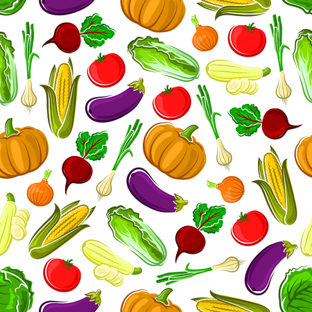 nappa: Ripe autumn vegetables seamless pattern background with tomato, onion, corn, eggplant, beet, zucchini, pumpkin and cabbage vegetables. Organic farming or agriculture themes design Illustration