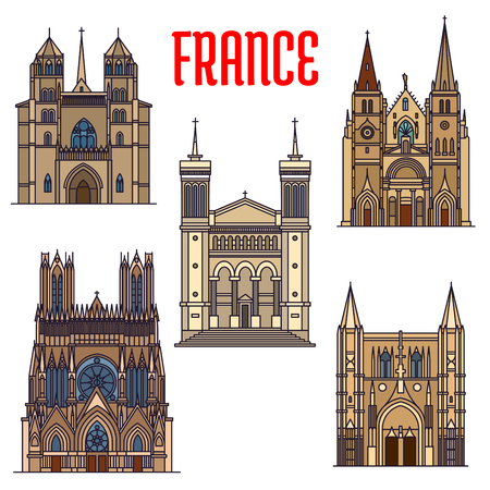 roman catholic: Travel landmarks of french gothic architecture icon with linear Church of Saint-Nizier, Basilique de Fourviere, Reims Cathedral, roman catholic Dijon Cathedral and Basilica of Saint Denis