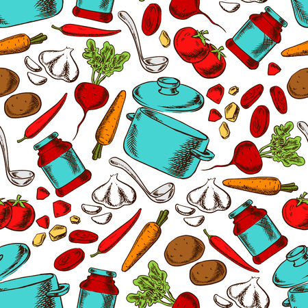 Cooking vegetarian soup with ingredients and kitchen utensils seamless pattern with tomato, potato, beet, carrot, chilli pepper, garlic and tomato sauce, pot and ladle