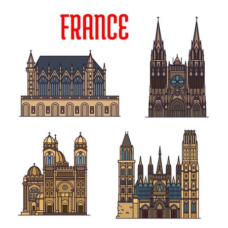 chapel: Linear travel landmarks of France icon with royal chapel Sainte-Chapelle, gothic Rouen Cathedral, Bourges Cathedral, Cathedral of Saint Mary Major. Travel design Illustration
