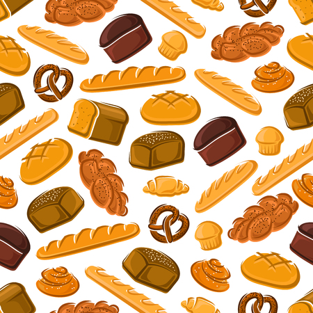 buns: Fresh bread and buns seamless pattern of french croissant and baguette, jewish rye bread and challah, bavarian cupcake and pretzel, swedish cinnamon roll and round greek bread Illustration