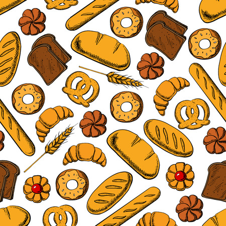 rye bread: Bakery and pastry products background. Seamless pattern of sweet bun, french croissant and baguette, glazed donut, jelly filled cookie, pretzel, long loaf and dark rye bread