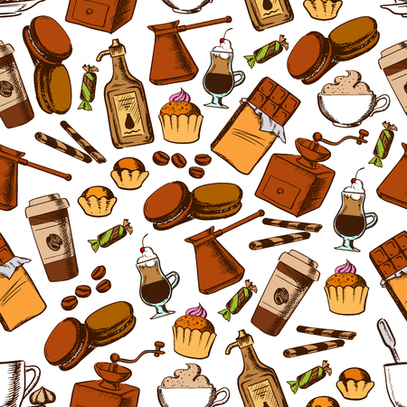 liqueur: Coffee beverages and chocolate sweets seamless pattern of cupcake, chocolate, cappuccino and irish cream cocktail, candy, macaron and cream liqueur, coffee pot, grinder and beans Illustration