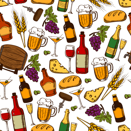 bread and wine: Alcoholic drinks, cocktails and snacks seamless pattern on white background with wine, beer, champagne, whisky bottles and glasses with grape and olive fruits, cheese, bread, corkscrew and wheat ears