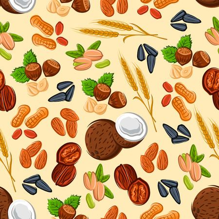 sunflower seed: Nuts and seeds seamless pattern with almond, hazelnut, peanut, pistachio, walnut, coconut, wheat ears and sunflower seed on cream background. Vegetarian food and confectionery design