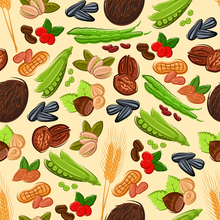 green wheat: Healthy nut, bean, seed and cereal seamless pattern on beige background with peanut, almond, coffee bean and berry, hazelnut, green pods of pea and bean, walnut, coconut, wheat and sunflower seed