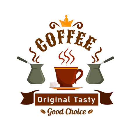 Natural coffee badge with cup and pots of fresh brewed turkish coffee, topped with golden crown and ribbon banner below. Cafe or coffee shop signboard design