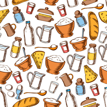 cheese bread: Baking and cooking ingredients seamless pattern with sketched milk, bread, cheese, egg, cream, butter, sugar and flour. Recipe book, bakery shop design
