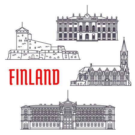 danish: Travel landmarks of Finland and Denmark thin line icon with sea fortress Sveaborg, Lutheran Church of Kotka, art museum Ateneum and palace of danish royal family Amalienborg Illustration