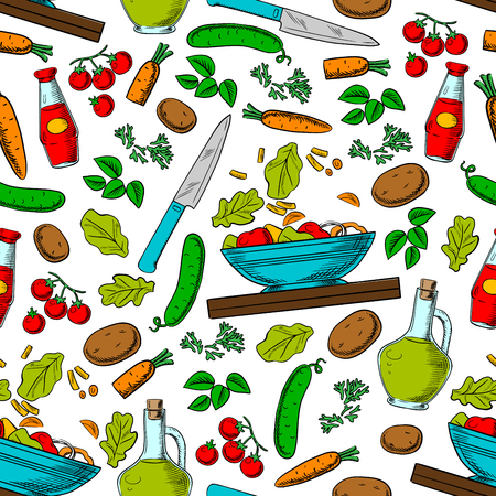 veggies: Cooking vegetable salad seamless pattern of fresh tomato, cucumber, carrot, potato, olive oil, spicy herbs and vinegar with knife, bowl and cutting board Illustration