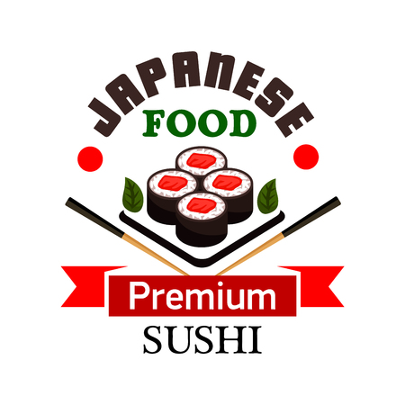nori: Sushi bar and japanese cuisine symbol with sushi rolls filled with salmon, framed by chopsticks and ribbon banner with text Premium Illustration