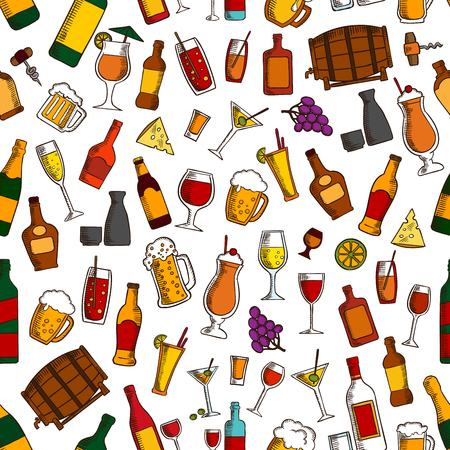 barrel tile: Aperitif drinks, cocktails and appetizers seamless pattern with wine, beer, champagne, whisky, sake, vodka, tequila, lemonade, juice, milkshake with cheese olive grape and lemon fruits