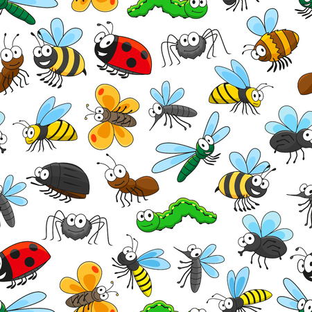 Funny insects seamless pattern background with cartoon bee, butterfly, bug, fly, caterpillar, dragonfly, mosquito, ladybug, wasp, ant spider and bumblebee characters Vectores