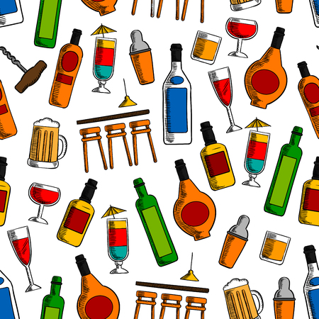 alcoholic drinks: Bar cocktails and alcoholic drinks seamless pattern with wine, beer, whisky, vodka, tequila and liquor bottles and glasses with shaker and bar counter on white background