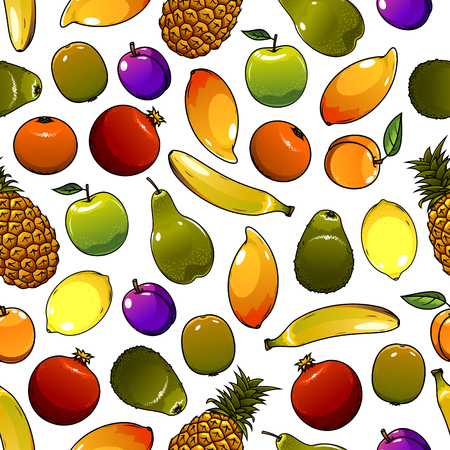 greengrocery: Healthy orange, apple, lemon, banana, plum, mango, pineapple, peach, kiwi and avocado fruits seamless pattern background. Tropical cocktail recipe vegetarian dessert design Illustration