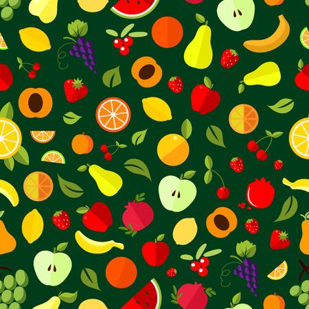 grape fruit: Fresh berry and fruit seamless pattern. Apple, orange, banana, strawberry, cherry, grape, lemon, peach pear watermelon pomegranate and cranberry fruits background