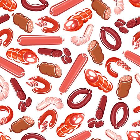 frankfurter: Fresh meat sausage, salami, frankfurter, pepperoni, chorizo, bologna and blood sausage seamless pattern. Meat products background for butcher shop design