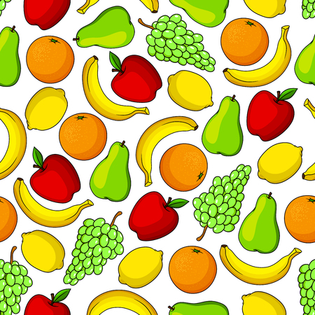 tropical garden: Tropical sweet banana, orange and lemon, garden juicy apple, green grape and pear fruits seamless pattern. Fruit background for organic farming and gardening design Illustration