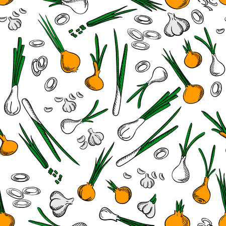 cloves: Fresh onion and garlic vegetables seamless pattern on white background with raw onion ring, sliced green leaves, peeled garlic cloves and scallion vegetables