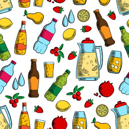 nonalcoholic: Non-alcoholic drinks with fruits seamless pattern of water, juice, soda and soft beverages, jug of fresh lemonade on white background with lemon, strawberry, pear, cranberry and pomegranate fruits
