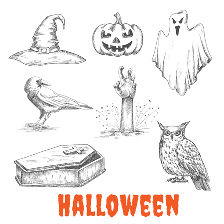 flying coffin: Vector sketched elements of Halloween celebration. Isolated witch hat, burning pumpkin with candles, bedsheet flying ghost, dead man hand from grave, raven crow, open vampire coffin, owl