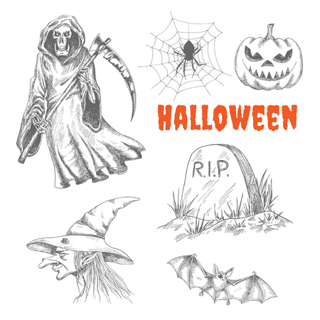 flying hat: Sketched characters for Halloween celebration decoration. Vector isolated death wih scythe, spider in spiderweb, scary pumpkin with eyes, R.I.P. tomb stone, ugly old witch in magic hat, flying vampire bat