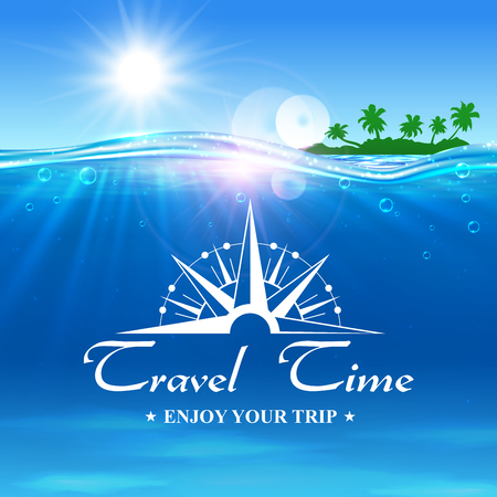 advertising agency: Travel Time poster. Summer travel trip background with ocean water, shining sun, tropical palm island and compass. Template for banner, advertising, agency, flyer, greeting card Illustration