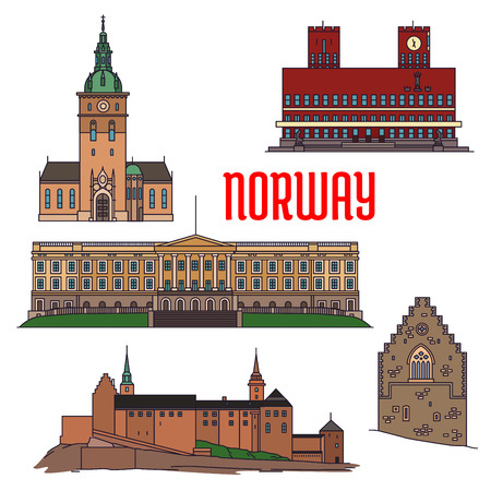 monasteries: Historic sightseeings and buildings of Norway. Vector detailed icons of Royal Palace, Akershus Fortress, Hakons Hall, Oslo Cathedral, Radhus. Norwegian showplace symbols for print, souvenirs, postcards