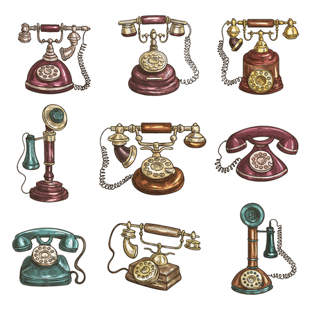 dialer: Old vintage retro phones with receivers, dials, wires. Sketch icons Illustration