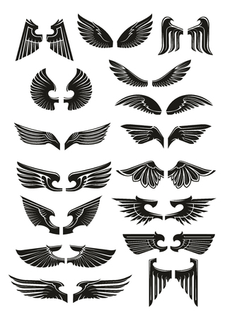 black wings: Black wings icons set. Heraldic vintage bird, eagle, angel wings outline silhouettes for tattoo, heraldry or tribal label. Vector gothic armor element