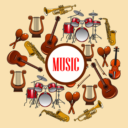 maracas: Music poster with wind and strings musical instruments. Musical placard with detailed icons of saxophone, piano, harp, drums, maracas, guitar, violin, trumpet