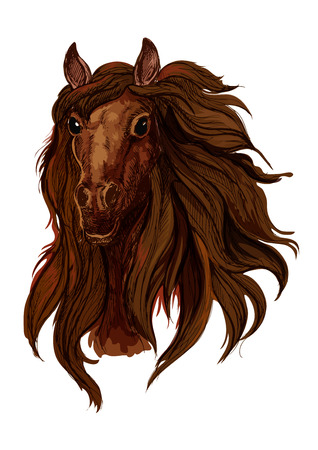 Brown chestnut running horse portrait. Red bay raging mustang with long wavy mane and shiny black eyes